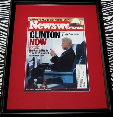 Bill Clinton autographed 2002 Newsweek cover matted & framed