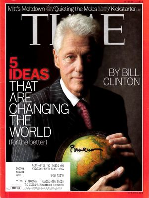 Bill Clinton autographed 2012 Time magazine (JSA)