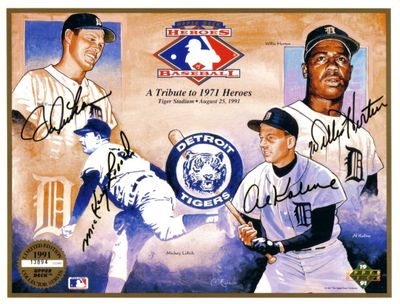 Bill Freehan Willie Horton Al Kaline Mickey Lolich autographed 1968 Detroit Tigers Upper Deck card sheet