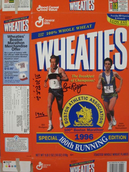 Bill Rodgers autographed 1996 Boston Marathon Wheaties box
