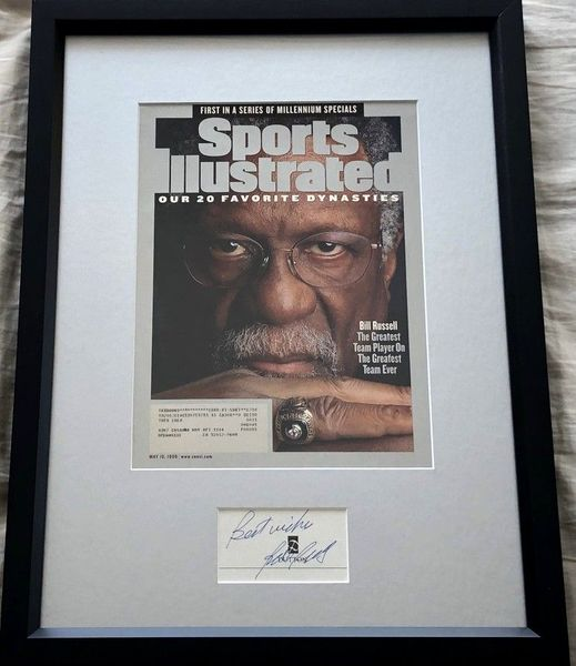 Bill Russell autograph matted and framed with 1999 Sports Illustrated magazine cover (inscribed Best wishes)