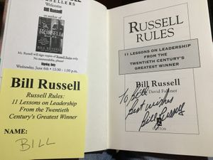 Bill Russell autographed Russell Rules hardcover first edition book (inscribed To Bill or John)