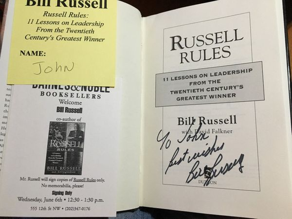 Bill Russell autographed Russell Rules hardcover first edition book (inscribed To John)