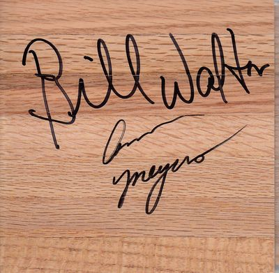 Bill Walton & Ann Meyers autographed 6x6 basketball hardwood floor