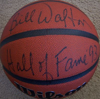 Bill Walton autographed NCAA basketball inscribed Hall of Fame '93