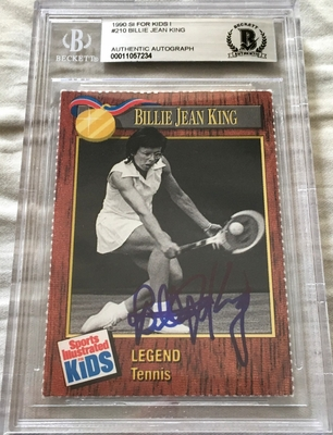 Billie Jean King autographed 1990 Sports Illustrated for Kids tennis card (BAS authenticated and slabbed)