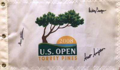 Billy Casper Gene Littler Scott Simpson autographed 2008 US Open Torrey Pines golf pin flag