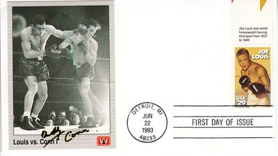 Billy Conn autographed All World boxing card mounted on 1993 Joe Louis First Day Cover