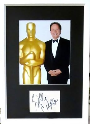 Billy Crystal autographed index card matted and framed with Oscars 8x10 photo