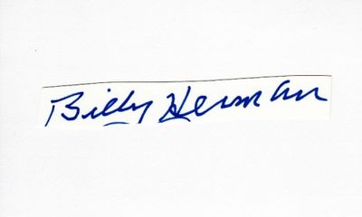Billy Herman autograph or cut signature mounted on 3x5 index card
