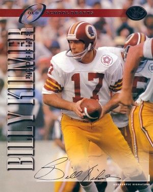 Billy Kilmer certified autograph Washington Redskins 1997 Leaf 8x10 photo card