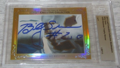 Billy Sims 2013 Leaf Masterpiece Cut Signature certified autograph card 1/1 JSA