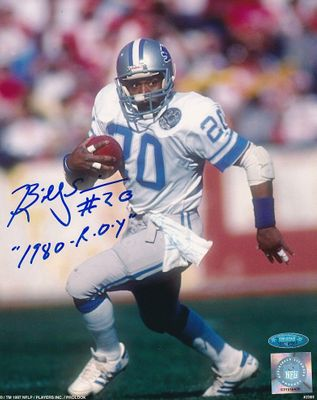Billy Sims autographed Detroit Lions 8x10 photo inscribed 1980 R.O.Y (TriStar)