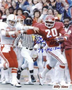 Billy Sims autographed Oklahoma Sooners 8x10 photo inscribed 78 Heisman