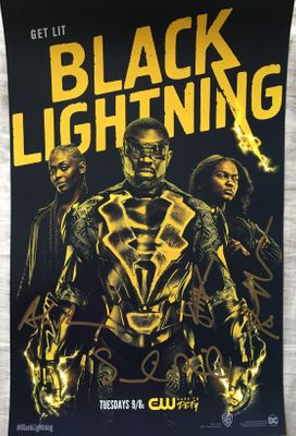 Black Lightning creator & writers autographed 2018 Wondercon poster