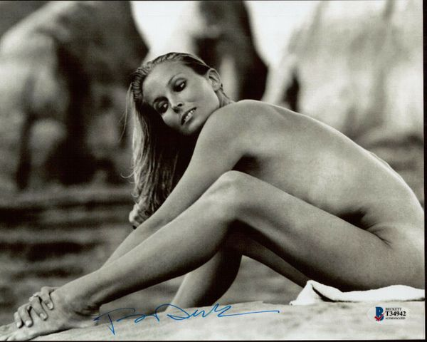Bo Derek autographed vintage 8x10 sexy black and white photo (BAS authenticated)