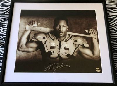 Bo Jackson autographed Bo Knows 16x20 poster size Nike baseball and football photo matted and framed (TriStar)