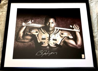 Bo Jackson autographed Bo Knows 16x20 poster size Nike baseball and football photo matted and framed (Bo hologram)