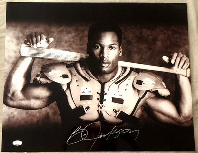 Bo Jackson autographed Bo Knows 16x20 poster size Nike baseball and football photo (JSA)
