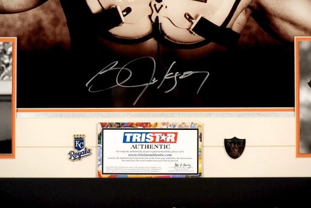 Bo Jackson autographed Bo Knows 16x20 poster size Nike baseball and football photo custom matted and framed (TriStar)