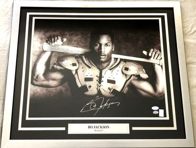 Bo Jackson autographed Bo Knows 16x20 poster size Nike baseball and football photo custom matted and framed (JSA)