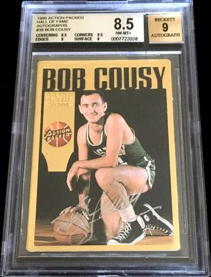 Bob Cousy certified autograph Boston Celtics Action Packed Hall of Fame card BGS graded 8.5