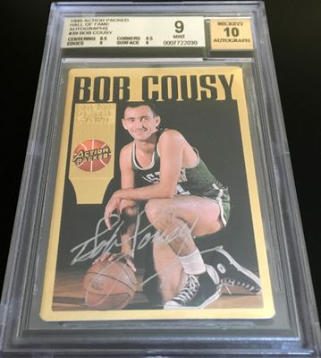 Bob Cousy certified autograph Boston Celtics Action Packed Hall of Fame card BGS graded 9