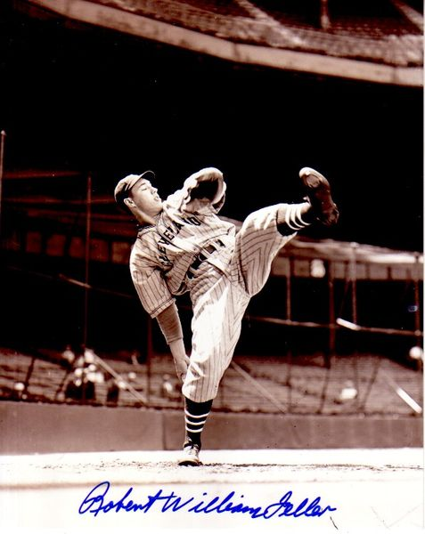 Bob Feller autographed Cleveland Indians 8x10 photo (full name Robert William Feller signature)