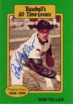 Bob Feller autographed Cleveland Indians Baseball's All-Time Greats card
