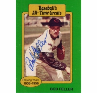 Bob Feller Autographed Cleveland Indians Baseballs All Time Greats Card