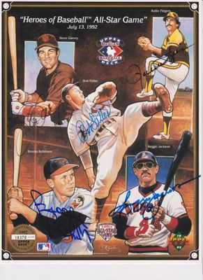 Bob Feller Rollie Fingers Steve Garvey Reggie Jackson Brooks Robinson autographed 1992 All-Star Upper Deck card sheet