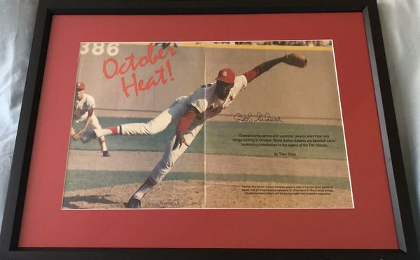 Bob Gibson autographed St. Louis Cardinals magazine photo spread matted and framed