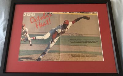 Bob Gibson autographed St. Louis Cardinals baseball magazine photo spread matted and framed