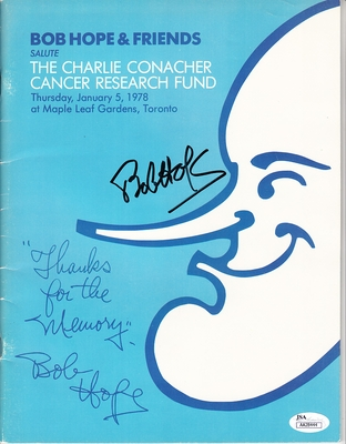 Bob Hope autographed 1978 Charlie Conacher Cancer Research Fund program (JSA)