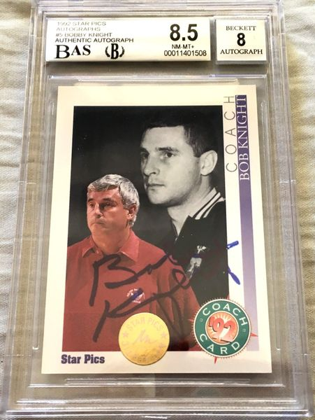 Bob Knight certified autographed Indiana 1992 Star Pics card BAS authenticated (BGS graded 8.5 and slabbed)