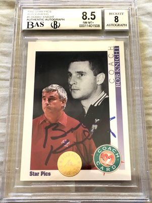 Bob Knight certified autograph Indiana Hoosiers 1992 Star Pics card graded BGS 8.5 JSA