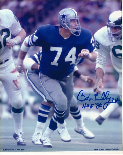 Bob Lilly autographed Dallas Cowboys 8x10 photo inscribed HOF '80