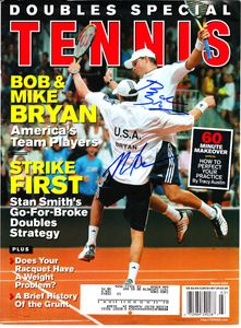 Bob Bryan and Mike Bryan autographed 2004 Tennis magazine cover