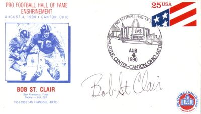 Bob St. Clair autographed San Francisco 49ers 1990 Hall of Fame Induction cachet