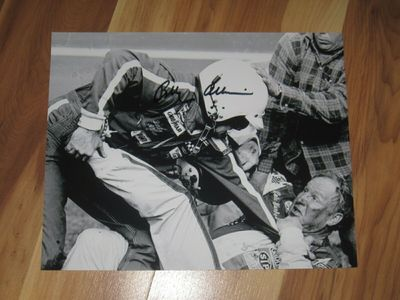 Bobby Allison autographed 1979 Daytona 500 fight 8x10 black and white photo