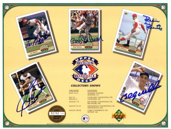 Bobby Bonds Lou Brock Bob Gibson Robin Roberts Billy Williams autographed 1992 Upper Deck card sheet