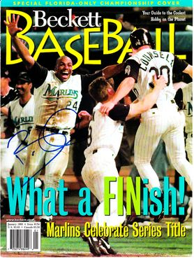Bobby Bonilla autographed 1997 Florida Marlins World Series celebration Beckett Baseball magazine cover
