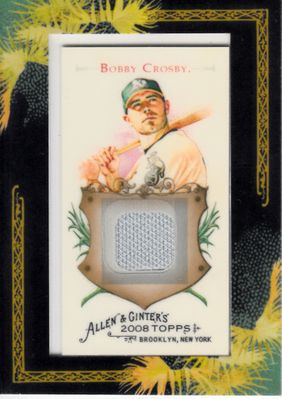 Bobby Crosby Oakland A's 2008 Topps Allen & Ginter game worn jersey card