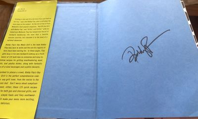 Bobby Flay autographed Boy Meets Grill hardcover cookbook