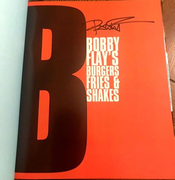 Bobby Flay autographed Burgers Fries and Shakes hardcover cookbook