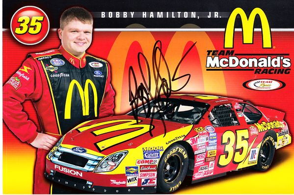 Bobby Hamilton Jr. autographed NASCAR 6x9 photo card