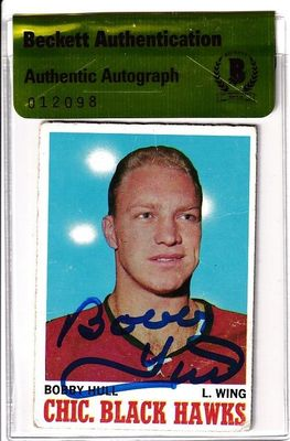 Bobby Hull autographed Chicago Blackhawks 1970-71 Topps card (BAS authenticated)