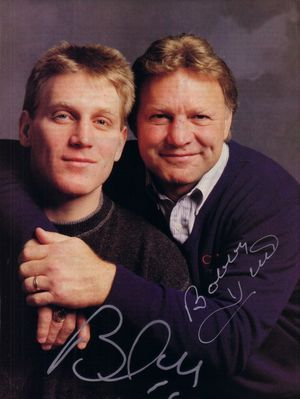 Bobby Hull & Brett Hull autographed full page magazine photo