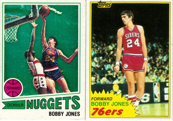 Bobby Jones 1977-78 Topps and 1981-82 Topps lot of 2 basketball cards