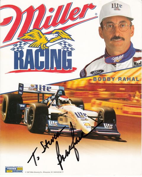Bobby Rahal autographed Miller Lite Racing 8x10 photo card (To Steven)